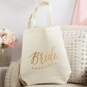 Gold Foil Bride Canvas Tote image