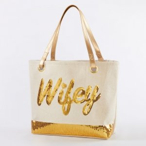 Sequin Wifey Canvas Tote image