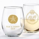 Personalized Beach Tides Stemless Wine Glass Favor