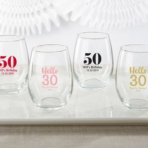 Milestone Birthday Personalized 9 oz Stemless Wine Glass image