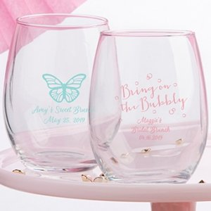 Personalized Bridal Brunch 9 oz. Stemless Wine Glass image