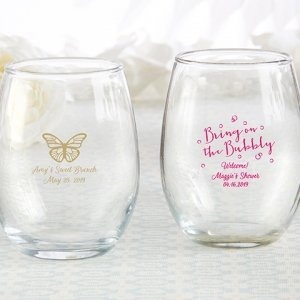 Personalized Bubbly Brunch 9 oz. Stemless Wine Glass image