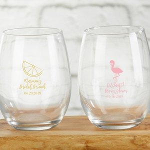 Cheery and Chic Personalized 9 oz Stemless Wine Glass image