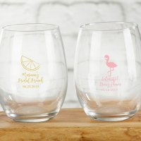 Cheery and Chic Personalized 9 oz Stemless Wine Glass