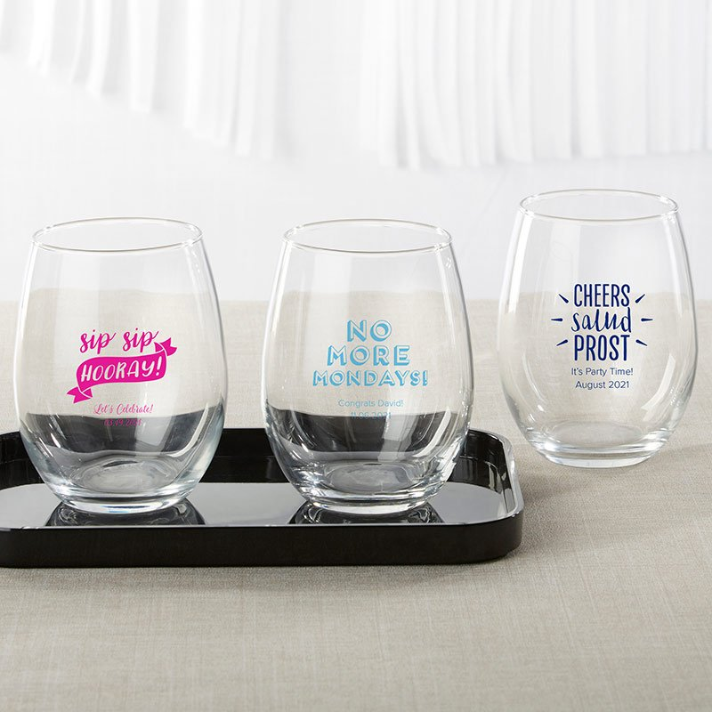 Personalized Celebration 9 oz. Stemless Wine Glass Favors image