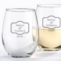 Personalized Classic Stemless Wine Glass Wedding Favors