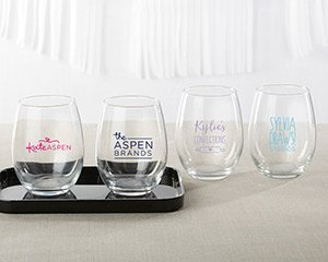 Personalized 9 oz. Stemless Wine Glass - Custom Design image