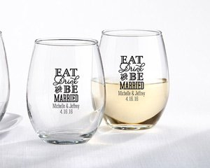 Personalized 9 oz. Stemless Wine Glass - Eat, Drink & Be Mar image