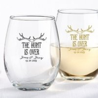 Personalized 'The Hunt is Over' Stemless Wine Glasses