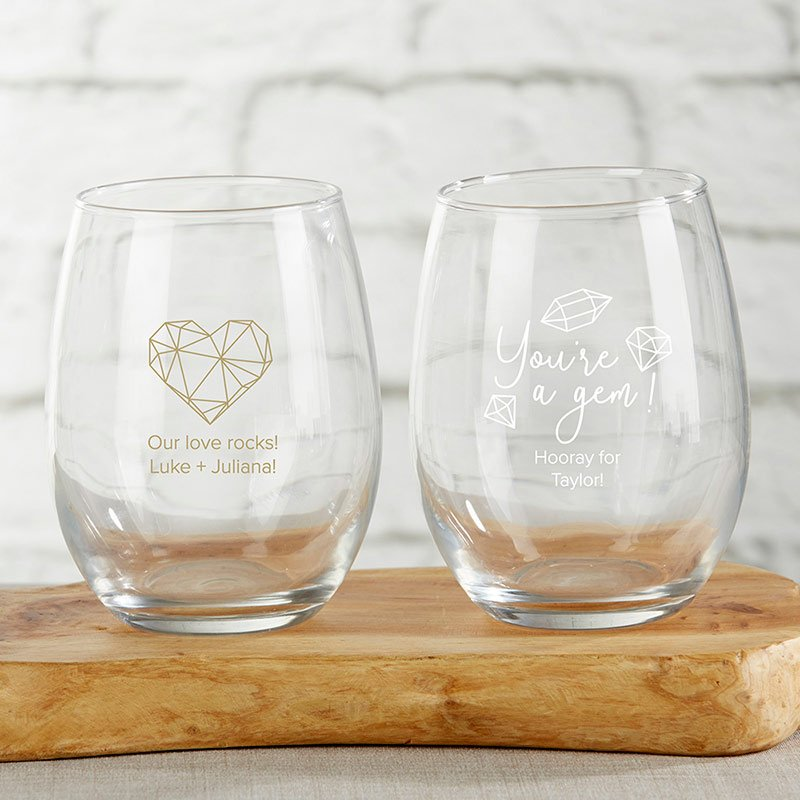 Personalized Elements 9 oz. Stemless Wine Glass image