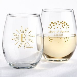 Milestone Gold Stemless Wine Glass Party Favors image