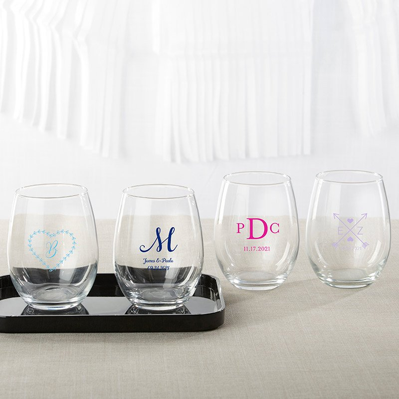 Personalized Monogram 9 oz Stemless Wine Glass image