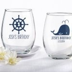 Personalized Nautical Birthday Stemless Wine Glasses