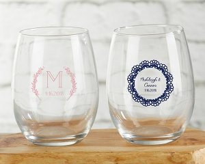 Personalized Rustic Charm Wedding 9 oz Stemless Wine Glasses image