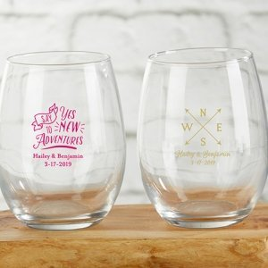 Personalized Travel and Adventure 9 oz. Stemless Wine Glass image