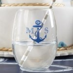 Nautical Theme Personalized Stemless Wine Glasses (9 oz)