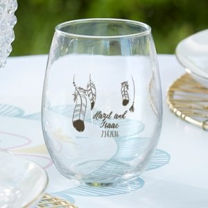 Personalized Boho Design Stemless Wine Glass Favors image