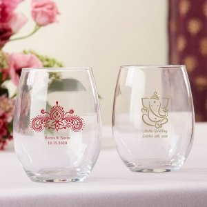 Personalized Indian Jewel Stemless Wine Glass Favors image