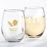 Personalized Pineapples and Palms Stemless Wine Glass