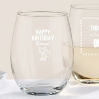Personalized Woodland Birthday Stemless Wine Glasses