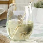 Rustic Theme Personalized Stemless Wine Glasses (9 oz)