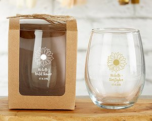 Personalized Sunflower 9 oz Stemless Wine Glass Favor image