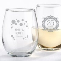 Milestone Silver 9 oz. Stemless Wine Glass Party Favors