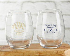 Personalized Winter Design 9 oz Stemless Wine Glasses image