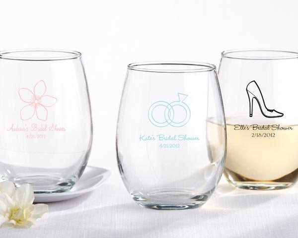 c38d3ce13fc Personalized 9 oz Stemless Bridal Shower Wine Glasses