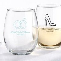 Personalized 9 oz Stemless Bridal Shower Wine Glasses