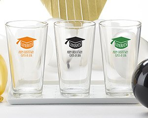 Personalized Congrats Graduation Cap 16 oz. Pint Glass image