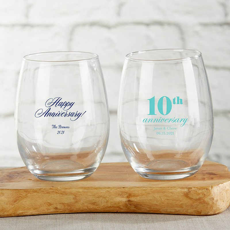 Personalized 15 oz. Stemless Wine Glass - Anniversary image