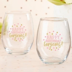 Birthday For Her 15 oz. Stemless Wine Glass - (Set of 4) image