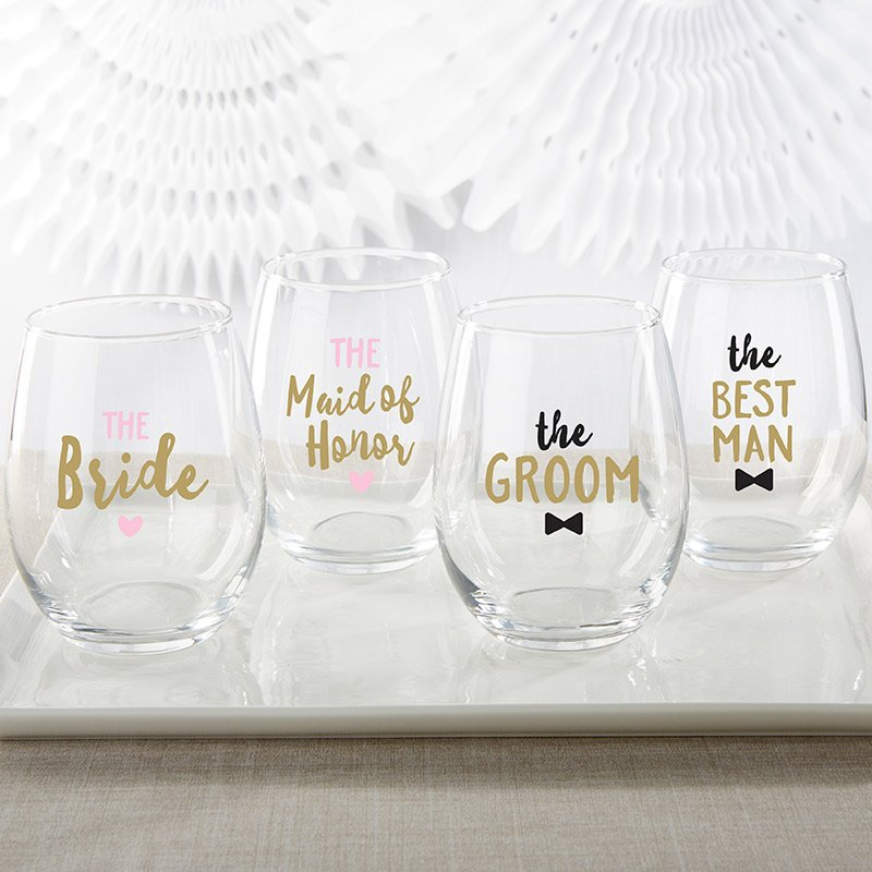 Bridal Party 15 oz. Stemless Wine Glass (Set of 4) image