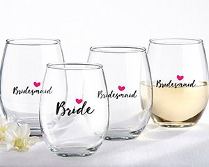 Bride and Bridesmaid Pink Heart 15 oz. Stemless Wine Glass ( image
