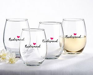Bridesmaids Pink Heart 15 oz. Stemless Wine Glass (Set of 4) image