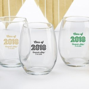 Personalized Class of 2018 Wine Glass Favors image