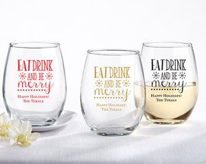 Personalized 15 oz. Stemless Wine Glass - Eat, Drink, Be Mer image