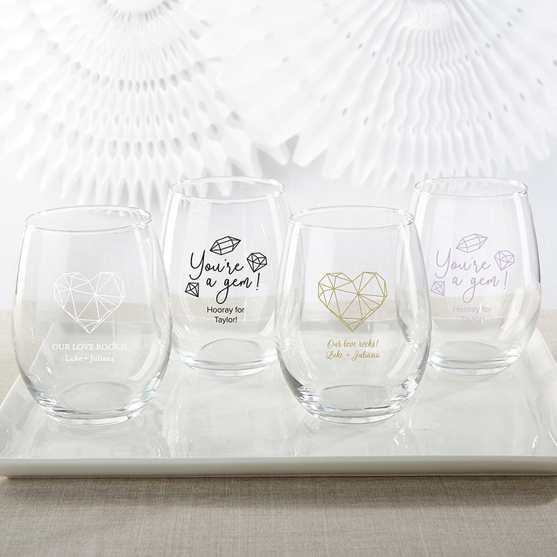 Personalized 15 oz. Stemless Wine Glass - Elements image