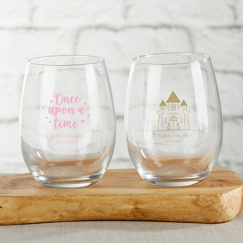 Personalized 15 oz. Stemless Wine Glass - Princess Party image