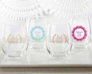 Personalized Rustic Charm Wedding 15 oz Stemless Wine Glass image