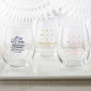 Personalized Travel and Adventure 15 oz. Stemless Wine Glass image