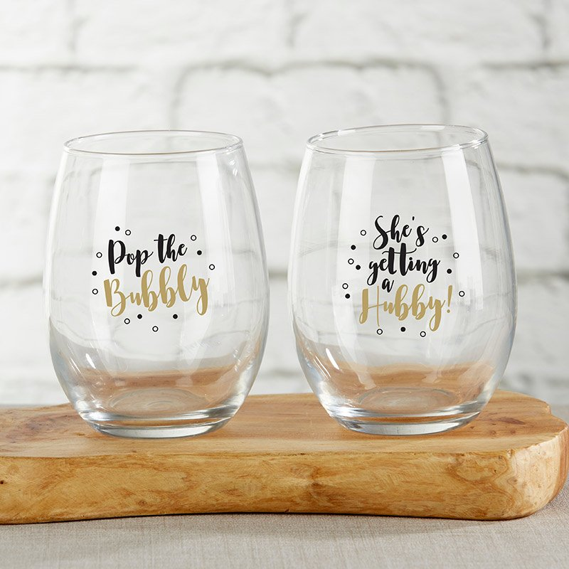 Pop The Bubbly 15 oz. Stemless Wine Glass (Set of 2) image