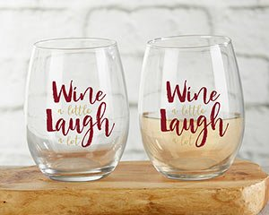 Wine A Little Laugh A Lot 15 oz Stemless Wine Glass (Set of  image