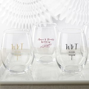 Personalized Vineyard Design 15 oz Stemless Wine Glass image