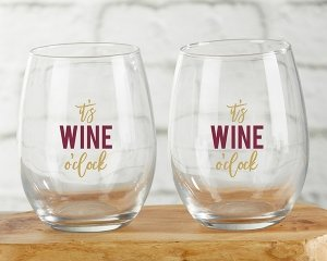 It's Wine O'Clock 15 oz Stemless Wine Glass (Set of 4) image