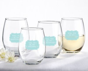Will You Be My Bridesmaid Stemless Wine Glass (Set of 4) image
