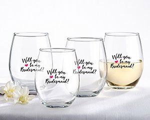 Will You Be My Bridesmaid Pink Heart Stemless Wine Glass (Se image