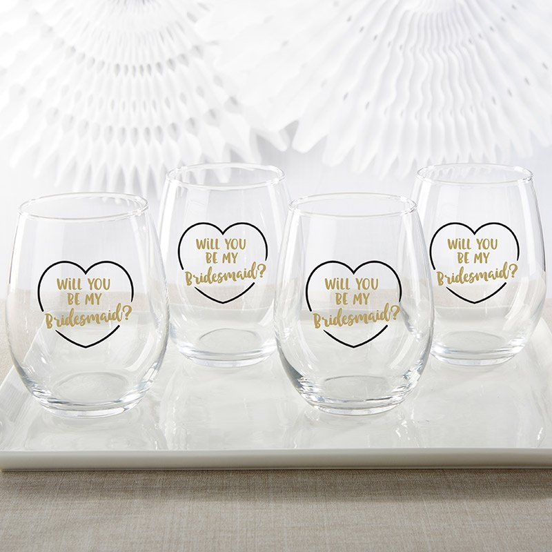 Gold Will You Be My Bridesmaid 15 oz. Stemless Wine Glass (S image