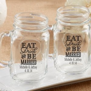 Personalized Eat Drink & Be Married Mason Jar Mug Favor image